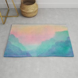 Pastel Sunset Scenery - Watercolor Painting Rug