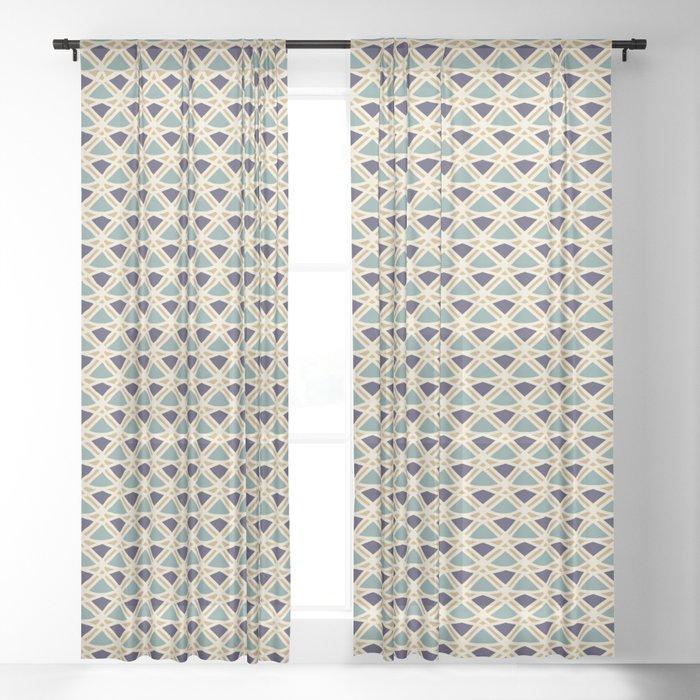 DECO - teal navy gold ivory diamond artdeco pattern Sheer Curtain