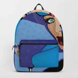Beautiful Pop Art Girl with Martini and Stewardess Hat Backpack