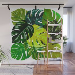 Monstera Leaves Wall Mural