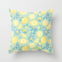 Lemon Pattern Mint Throw Pillow