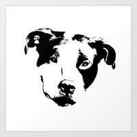 pit bull Art Prints featuring Pit Bull by MIX INX