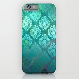"""Turquoise Ocean Damask Pattern"" iPhone Case"