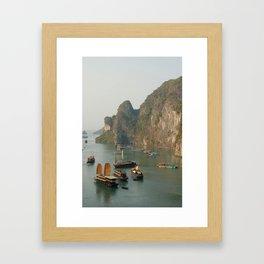 Junks in Halong Bay - Landscape  Framed Art Print