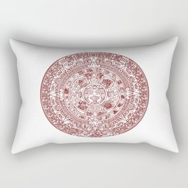 Aztec Calendar // Maroon Rectangular Pillow