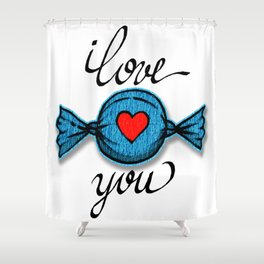 I love you (blue) Shower Curtain