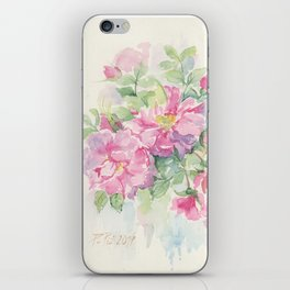 WILD ROSE FLOWER Watercolour painting Pink roses Spring Floral sketch Wedding decor iPhone Skin