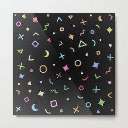 Geometric Patterns - Colorful Black Metal Print