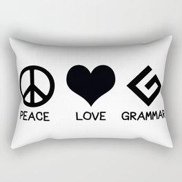 Peace, Love, and Grammar Rectangular Pillow