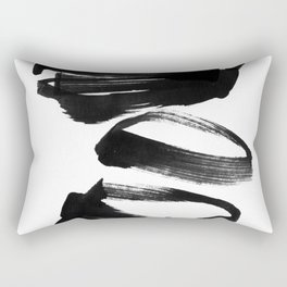 Black and White Abstract Shapes Ink Painting Rectangular Pillow