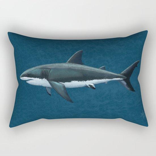 """Carcharodon carcharias"" by Amber Marine  ~ Great White Shark Art, (c) 2015 Rectangular Pillow"