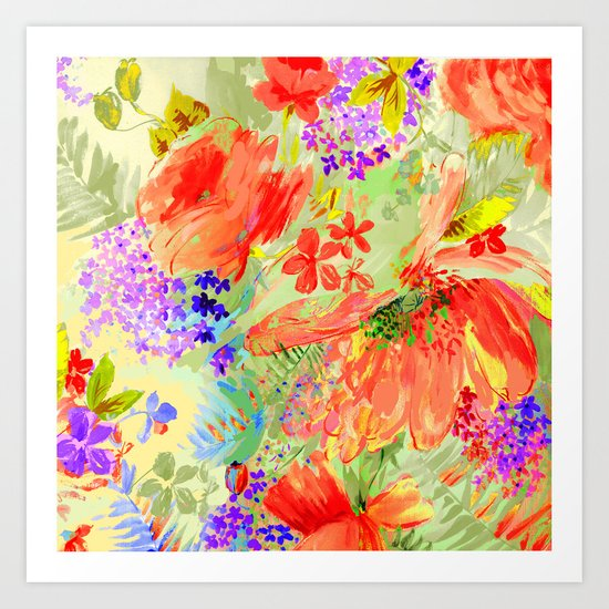abstract floral hot Art Print