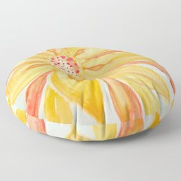 Sunburst Yellow and Orange Abstract Watercolor Flower Floor Pillow