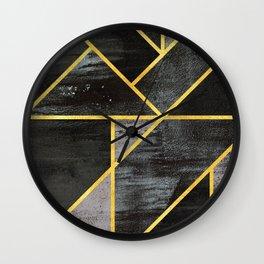 Geometric gold lines Wall Clock