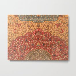 Flowery Vines III // 16th Century Contemporary Red Blue Yellow Colorful Ornate Accent Rug Pattern Metal Print