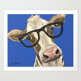Cute Cow With Glasses, Blue Glasses Cow Art Print