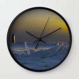 Manistique Lighthouse Sun Dog Wall Clock