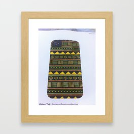 aztec design yellow Framed Art Print