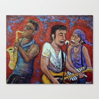springsteen Canvas Prints featuring Prove It All Night -  Bruce Springsteen, Clarence Clemons, Steven Van Zandt by Jason Gluskin Art