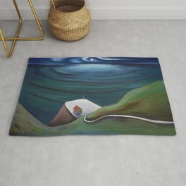 Cliff House - Hawaii landscape painting by Marguerite Blasingame Rug