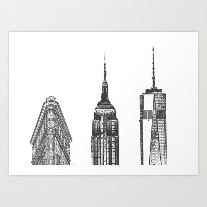 New York City Iconic Buildings-Empire State, Flatiron, One World Trade Kunstdrucke