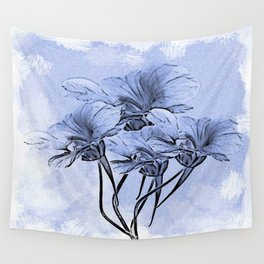Painterly Blue Floral Wall Tapestry