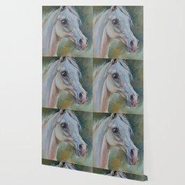 Gray Arabian Horse portrait Arab Horse head oil painting Wallpaper