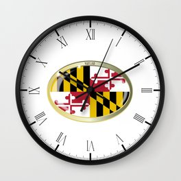 Maryland State Flag Oval Button Wall Clock