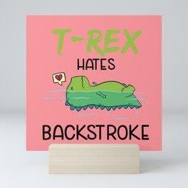 T-Rex Hates Backstroke Funny Swimming Dinosaur Mini Art Print