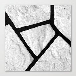 Stone black line uneven grey white pattern Canvas Print