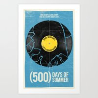 500 days of summer Art Prints featuring (500) Days of Summer by Bill Pyle