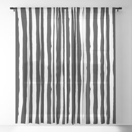 Black and White Vertical Stripes Sheer Curtain