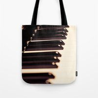piano Tote Bags featuring piano by noirblanc777