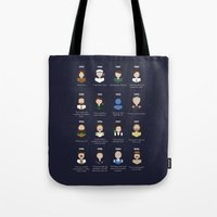 robin williams Tote Bags featuring The Faces of Robin Williams by Dorothy Leigh