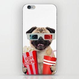 Pug watching a movie iPhone Skin