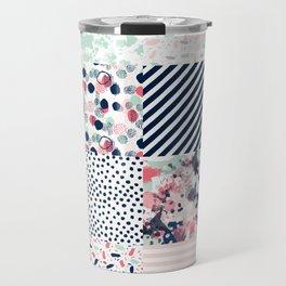 Patchwork quilt cheater quilt pattern gender neutral nursery baby decor Travel Mug