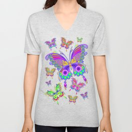 Butterfly Colorful Tattoo Style Pattern Unisex V-Neck