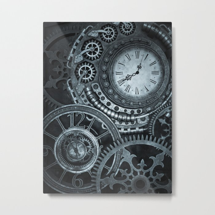 Silver Steampunk Clockwork Metal Print