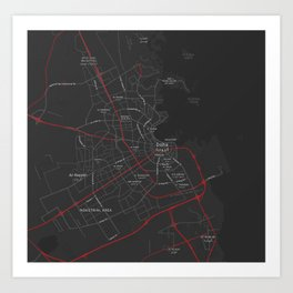 Minimalist Modern Map of Doha, Qatar 2 Art Print
