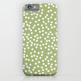 Leaf Green and White Polka Dot Pattern iPhone Case