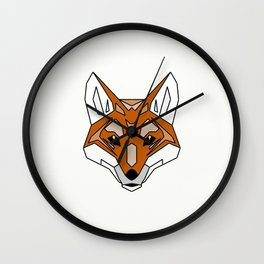 Geometric Fox - Abstract, Animal Design Wall Clock
