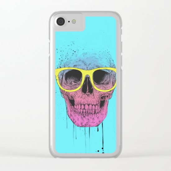 Pop art skull with glasses Clear iPhone Case