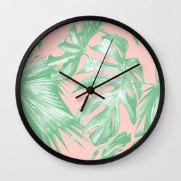Island Love Seashell Pink Coral + Green Wall Clock