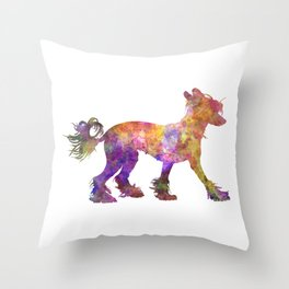 Chinese crested dog 01 in watercolor Throw Pillow