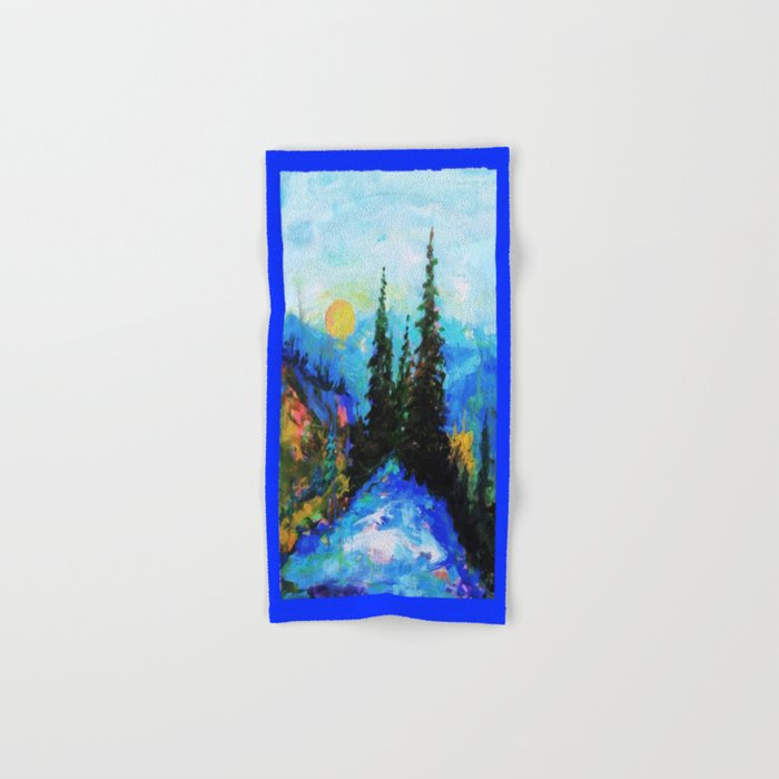 Mountain Blues Painting Hand & Bath Towel