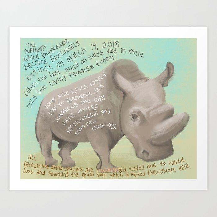 Northern White Rhino Art Print