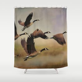 Geese On A Foggy Morning Shower Curtain