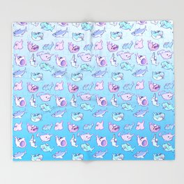 Sailor Sharks Throw Blanket