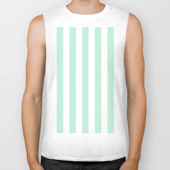 Mint green and White stripes-vertical Biker Tank