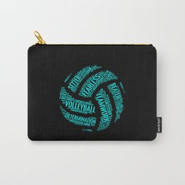 Turquoise Volleyball Wordcloud - Gift Carry-All Pouch